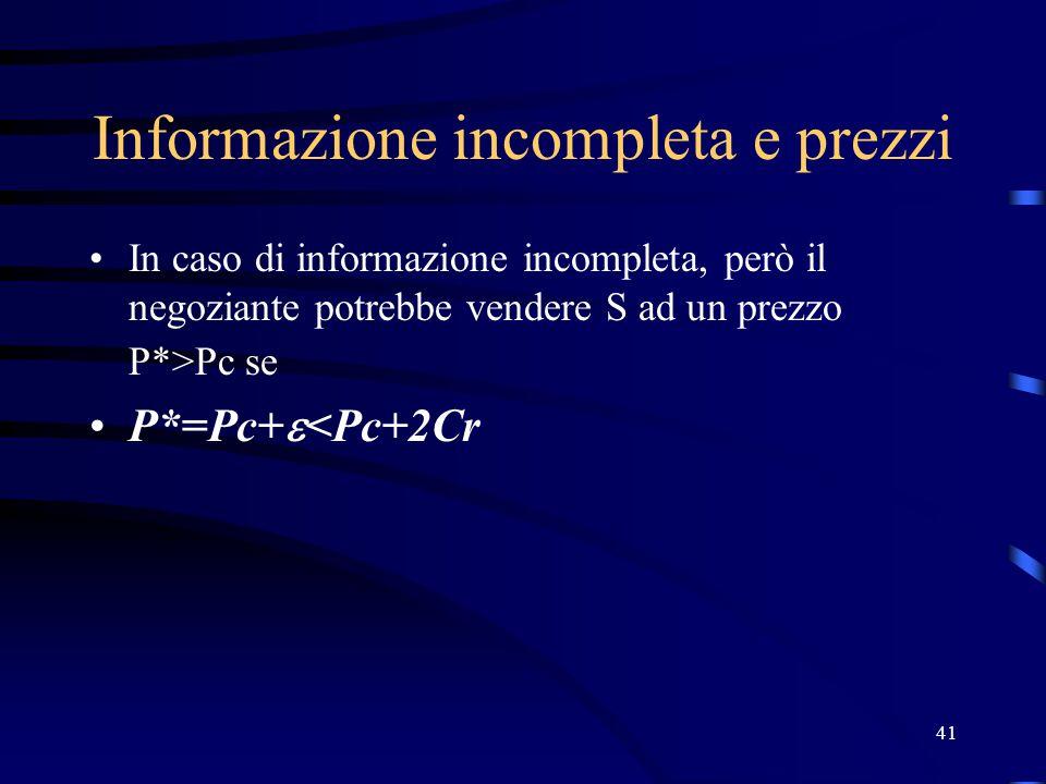 41 Informazione incompleta e prezzi In caso di informazione incompleta, però il negoziante potrebbe vendere S ad un prezzo P*>Pc se P*=Pc+  <Pc+2Cr