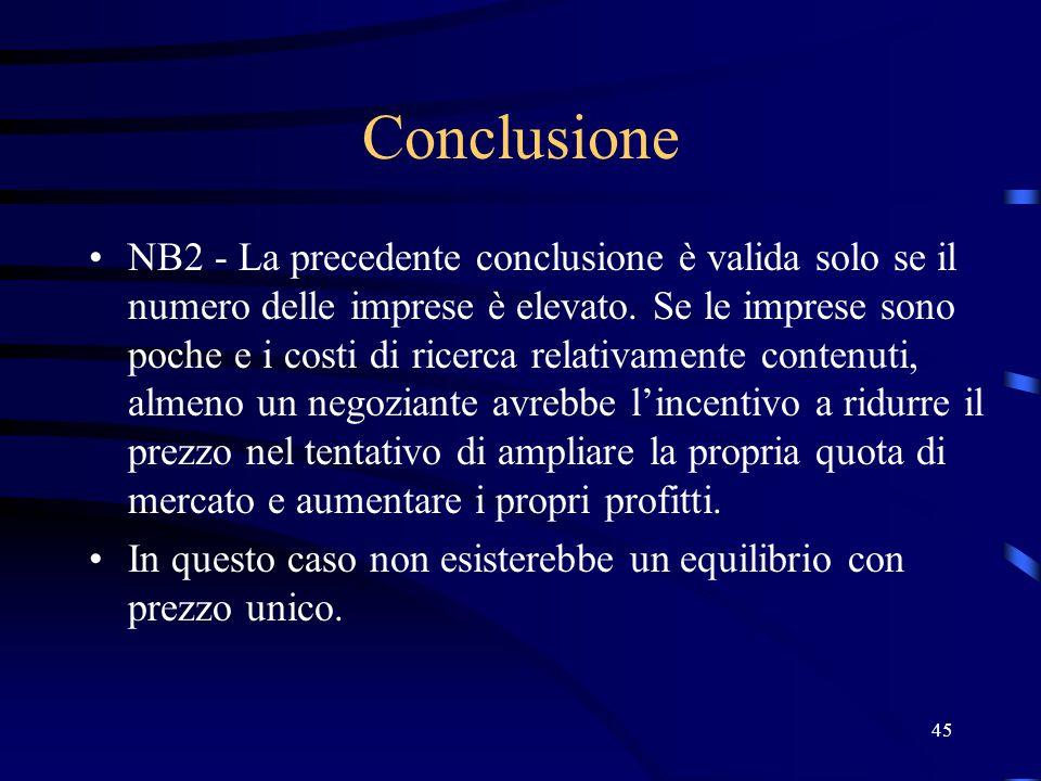 45 Conclusione NB2 - La precedente conclusione è valida solo se il numero delle imprese è elevato.