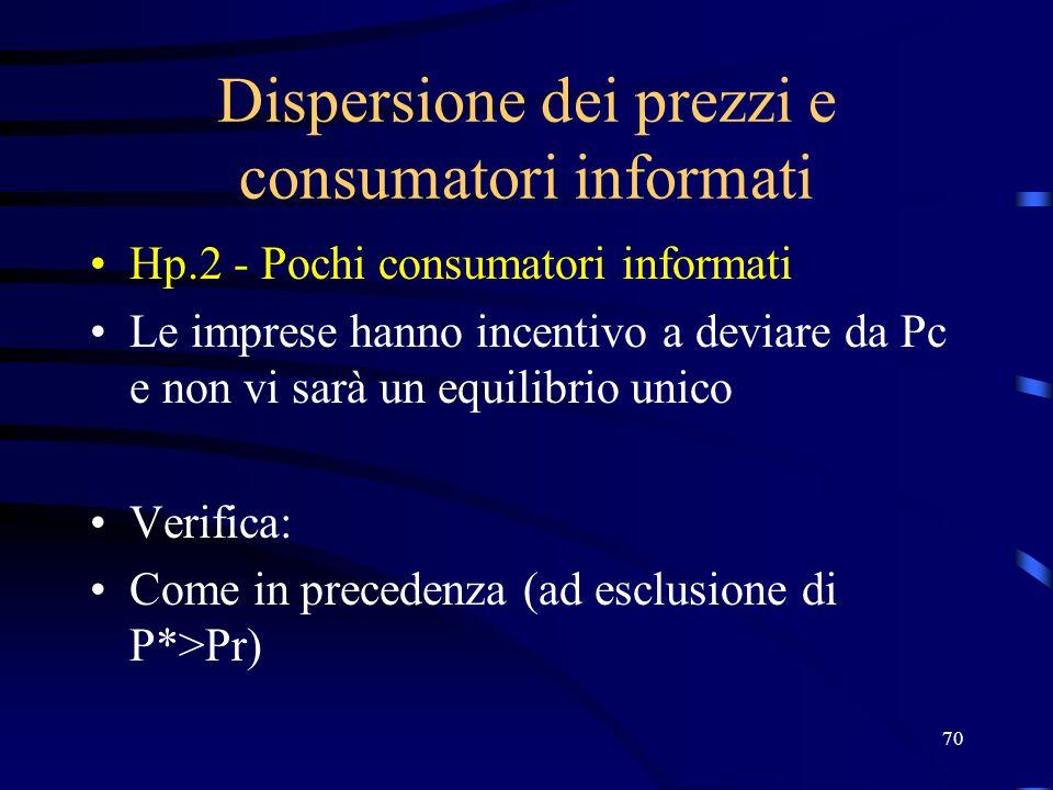70 Dispersione dei prezzi e consumatori informati Hp.2 - Pochi consumatori informati Le imprese hanno incentivo a deviare da Pc e non vi sarà un equilibrio unico Verifica: Come in precedenza (ad esclusione di P*>Pr)