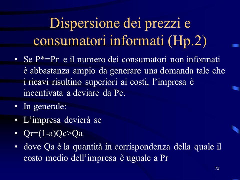 73 Dispersione dei prezzi e consumatori informati (Hp.2) Se P*=Pr e il numero dei consumatori non informati è abbastanza ampio da generare una domanda tale che i ricavi risultino superiori ai costi, l'impresa è incentivata a deviare da Pc.