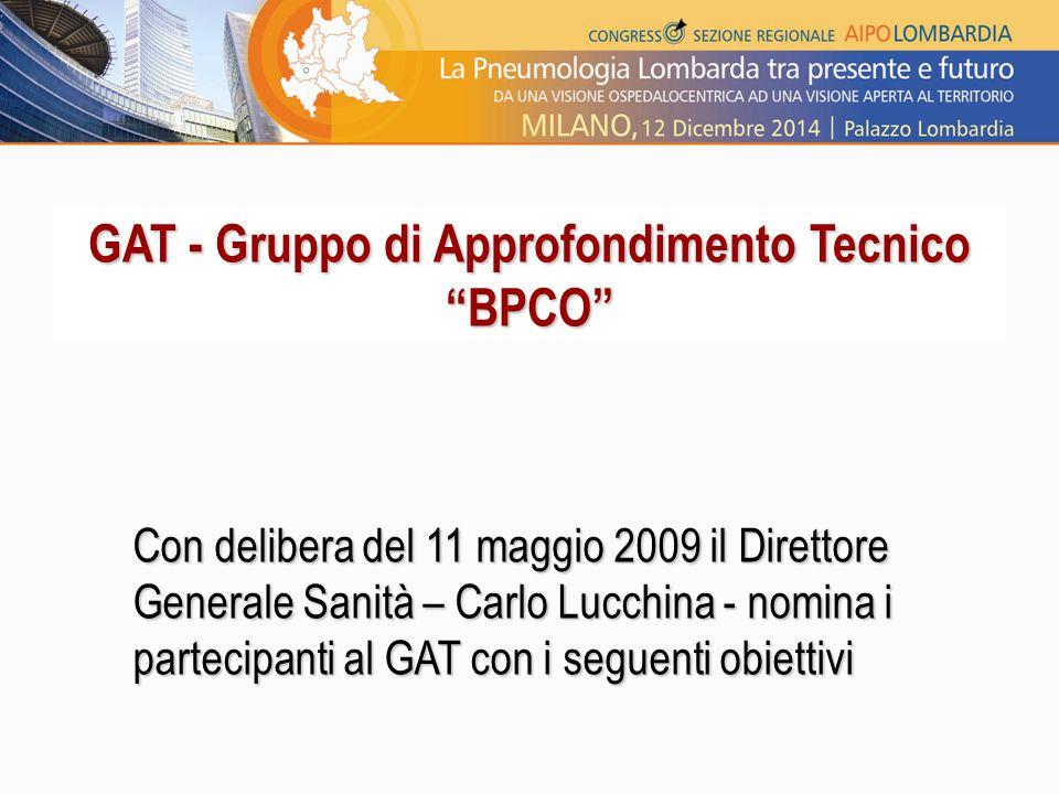 """GAT - Gruppo di Approfondimento Tecnico """"BPCO"""" Con delibera del 11 maggio 2009 il Direttore Generale Sanità – Carlo Lucchina - nomina i partecipanti a"""