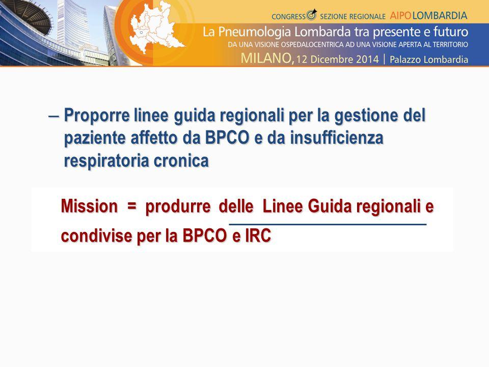 – Proporre linee guida regionali per la gestione del paziente affetto da BPCO e da insufficienza respiratoria cronica Mission = produrre delle Linee G