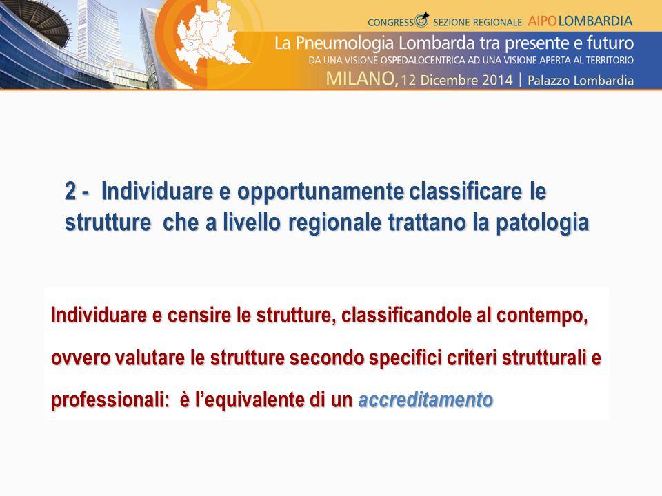 2 - Individuare e opportunamente classificare le strutture che a livello regionale trattano la patologia Individuare e censire le strutture, classific