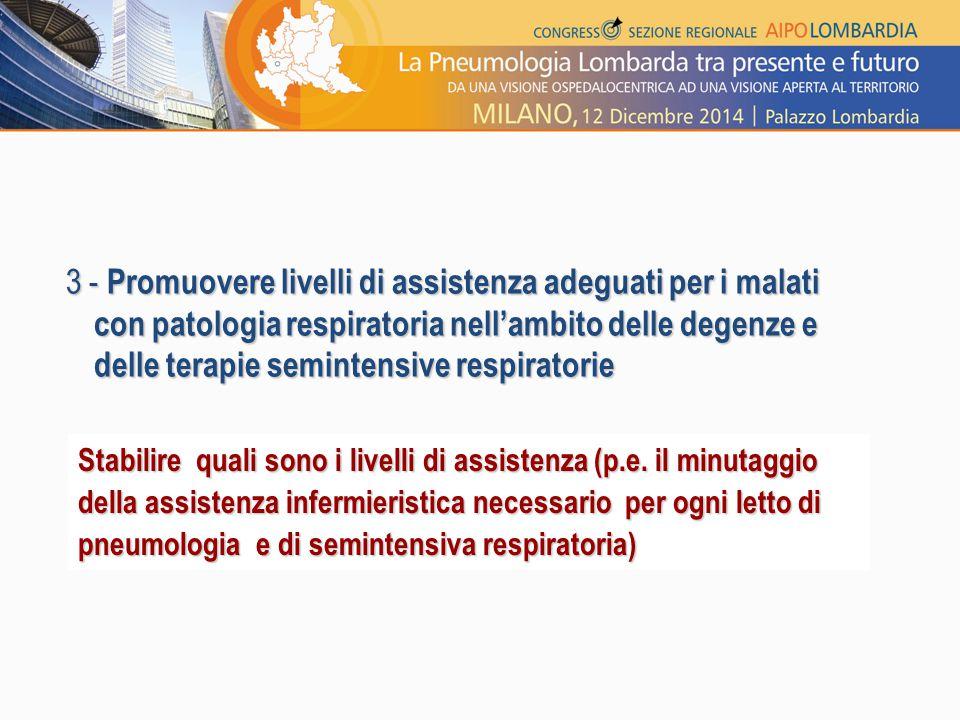 3 - Promuovere livelli di assistenza adeguati per i malati con patologia respiratoria nell'ambito delle degenze e delle terapie semintensive respirato