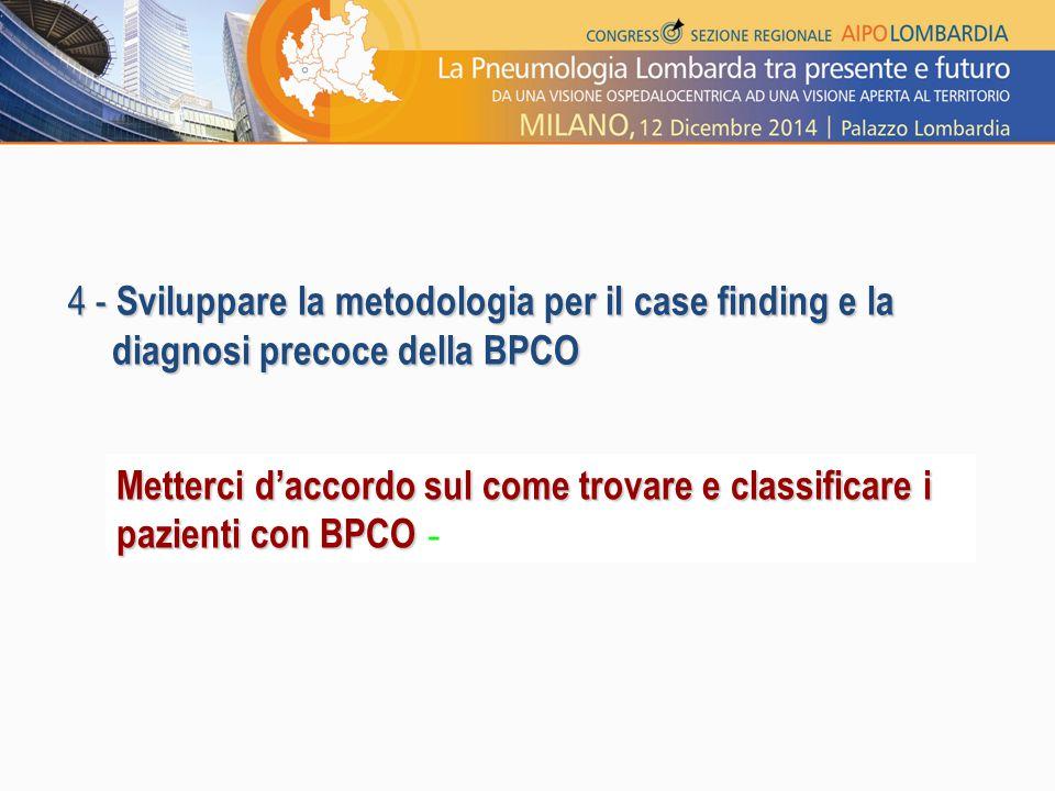 4 - Sviluppare la metodologia per il case finding e la diagnosi precoce della BPCO Metterci d'accordo sul come trovare e classificare i pazienti con B