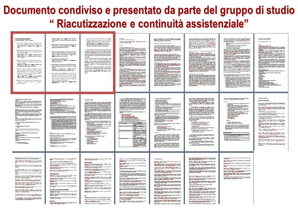 """Documento condiviso e presentato da parte del gruppo di studio """" Riacutizzazione e continuità assistenziale"""""""