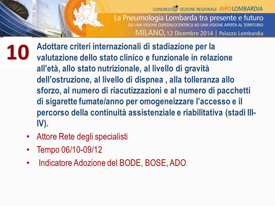 Adottare criteri internazionali di stadiazione per la valutazione dello stato clinico e funzionale in relazione all'età, allo stato nutrizionale, al l