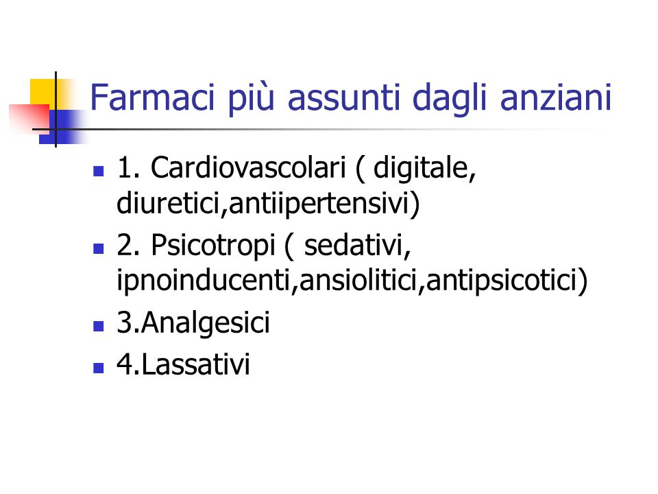 Farmaci più assunti dagli anziani 1. Cardiovascolari ( digitale, diuretici,antiipertensivi) 2. Psicotropi ( sedativi, ipnoinducenti,ansiolitici,antips