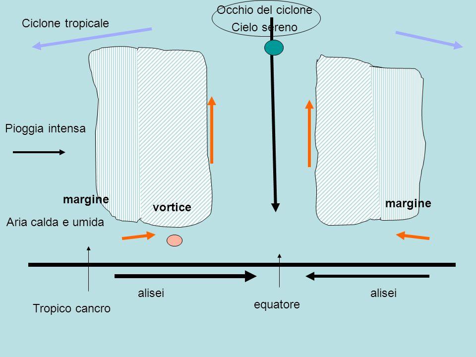 Ciclone tropicale equatore Tropico cancro alisei Aria calda e umida Occhio del ciclone Pioggia intensa Cielo sereno vortice margine alisei