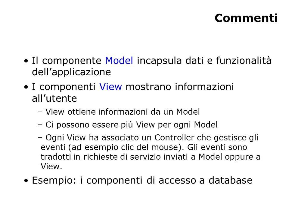 Commenti Il componente Model incapsula dati e funzionalità dell'applicazione I componenti View mostrano informazioni all'utente – View ottiene informazioni da un Model – Ci possono essere più View per ogni Model – Ogni View ha associato un Controller che gestisce gli eventi (ad esempio clic del mouse).