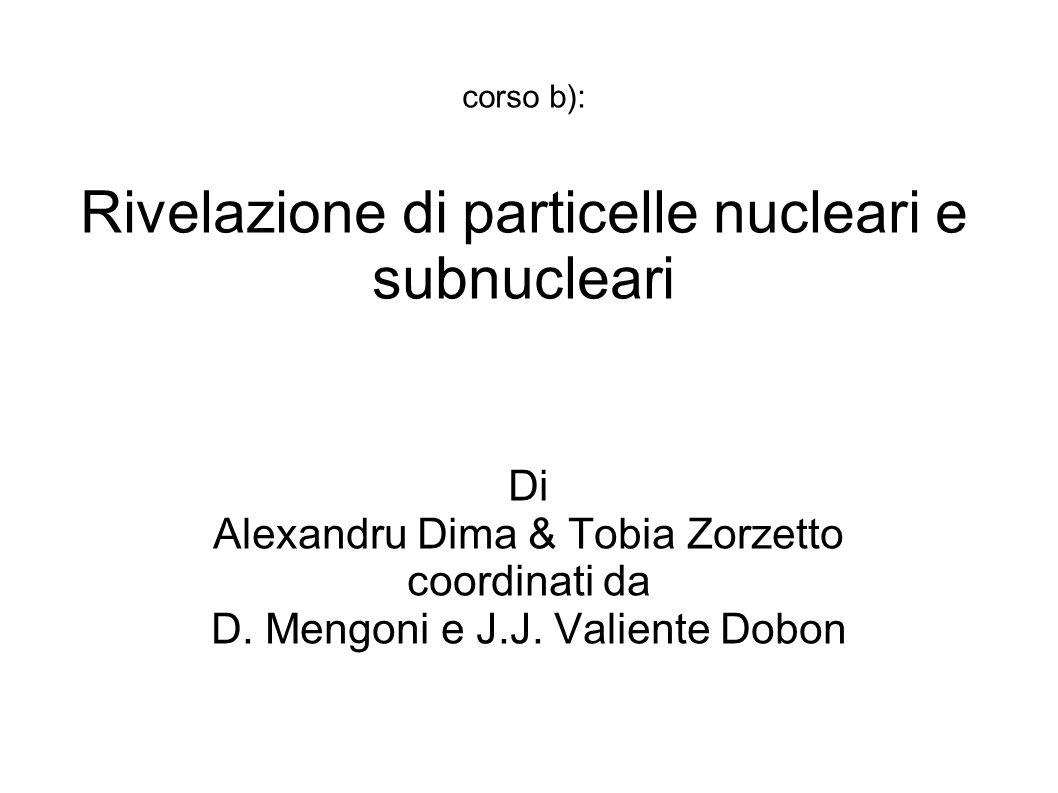 corso b): Rivelazione di particelle nucleari e subnucleari Di Alexandru Dima & Tobia Zorzetto coordinati da D. Mengoni e J.J. Valiente Dobon