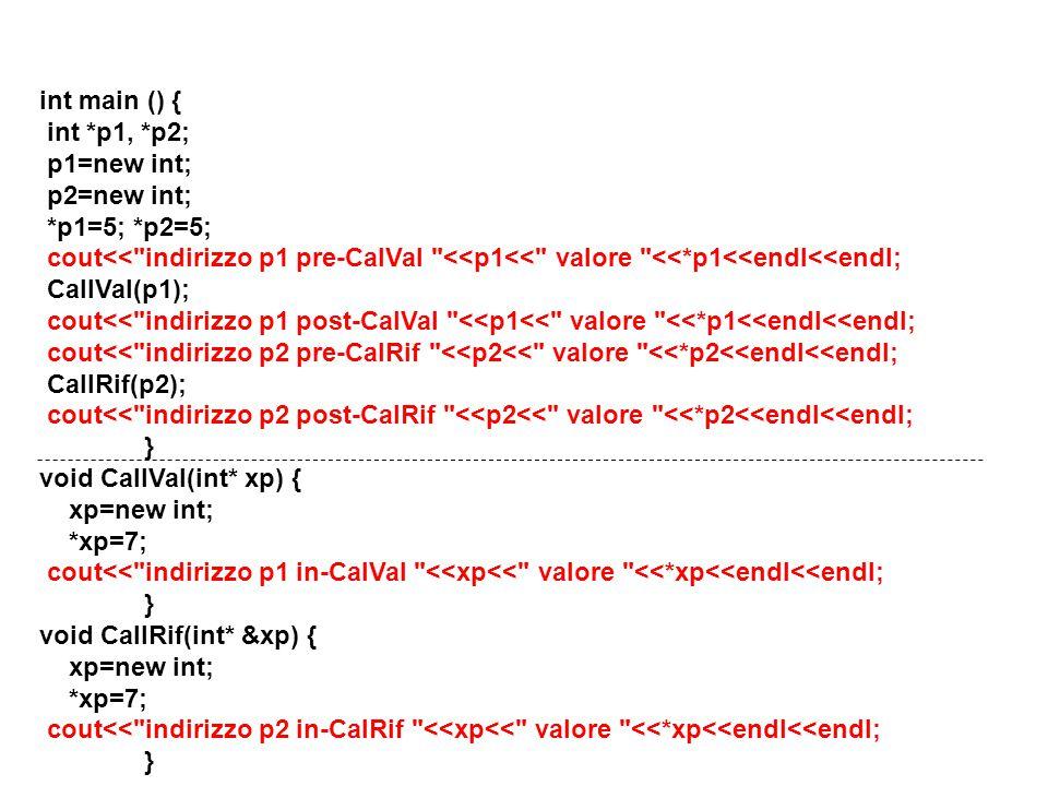 23 int main () { int *p1, *p2; p1=new int; p2=new int; *p1=5; *p2=5; cout<< indirizzo p1 pre-CalVal <<p1<< valore <<*p1<<endl<<endl; CallVal(p1); cout<< indirizzo p1 post-CalVal <<p1<< valore <<*p1<<endl<<endl; cout<< indirizzo p2 pre-CalRif <<p2<< valore <<*p2<<endl<<endl; CallRif(p2); cout<< indirizzo p2 post-CalRif <<p2<< valore <<*p2<<endl<<endl; } void CallVal(int* xp) { xp=new int; *xp=7; cout<< indirizzo p1 in-CalVal <<xp<< valore <<*xp<<endl<<endl; } void CallRif(int* &xp) { xp=new int; *xp=7; cout<< indirizzo p2 in-CalRif <<xp<< valore <<*xp<<endl<<endl; }