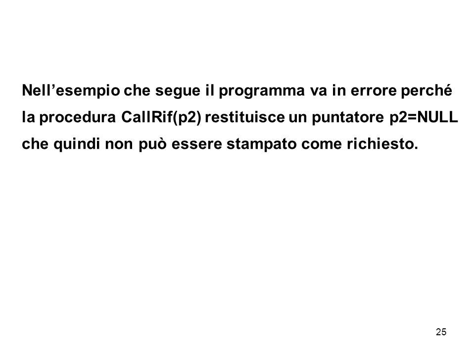 25 Nell'esempio che segue il programma va in errore perché la procedura CallRif(p2) restituisce un puntatore p2=NULL che quindi non può essere stampato come richiesto.