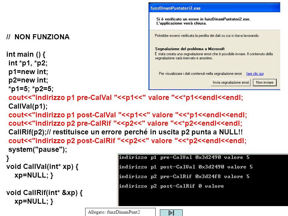 26 // NON FUNZIONA int main () { int *p1, *p2; p1=new int; p2=new int; *p1=5; *p2=5; cout<< indirizzo p1 pre-CalVal <<p1<< valore <<*p1<<endl<<endl; CallVal(p1); cout<< indirizzo p1 post-CalVal <<p1<< valore <<*p1<<endl<<endl; cout<< indirizzo p2 pre-CalRif <<p2<< valore <<*p2<<endl<<endl; CallRif(p2);// restituisce un errore perché in uscita p2 punta a NULL!.