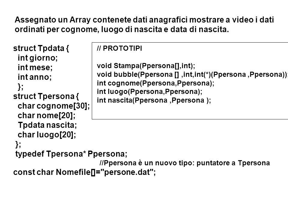 struct Tpdata { int giorno; int mese; int anno; }; struct Tpersona { char cognome[30]; char nome[20]; Tpdata nascita; char luogo[20]; }; typedef Tpersona* Ppersona; //Ppersona è un nuovo tipo: puntatore a Tpersona const char Nomefile[]= persone.dat ; Assegnato un Array contenete dati anagrafici mostrare a video i dati ordinati per cognome, luogo di nascita e data di nascita.