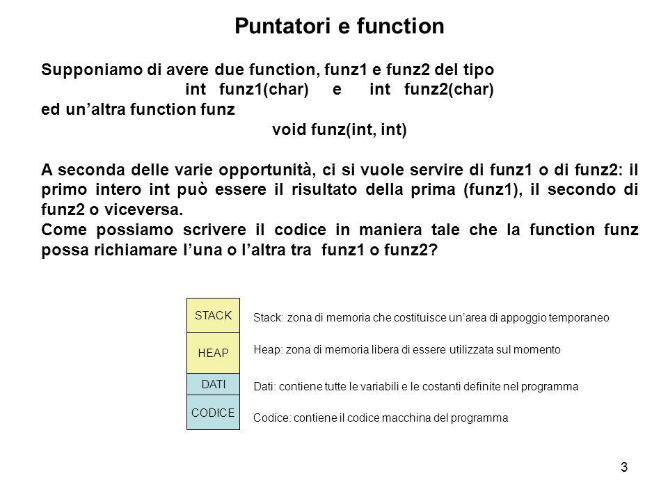 3 STACK Stack: zona di memoria che costituisce un'area di appoggio temporaneo CODICE Codice: contiene il codice macchina del programma HEAP Heap: zona di memoria libera di essere utilizzata sul momento DATI Dati: contiene tutte le variabili e le costanti definite nel programma Puntatori e function Supponiamo di avere due function, funz1 e funz2 del tipo int funz1(char) e int funz2(char) ed un'altra function funz void funz(int, int) A seconda delle varie opportunità, ci si vuole servire di funz1 o di funz2: il primo intero int può essere il risultato della prima (funz1), il secondo di funz2 o viceversa.