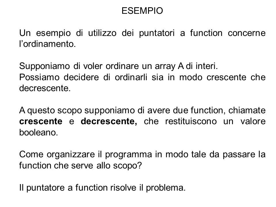 5 ESEMPIO Un esempio di utilizzo dei puntatori a function concerne l'ordinamento.