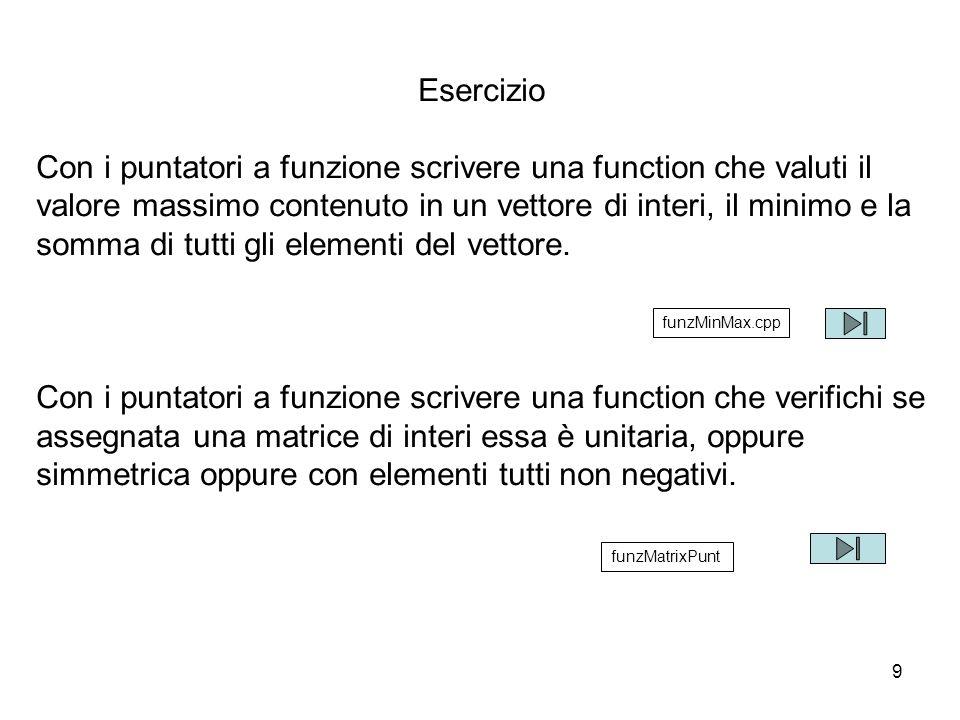 9 Esercizio Con i puntatori a funzione scrivere una function che valuti il valore massimo contenuto in un vettore di interi, il minimo e la somma di tutti gli elementi del vettore.