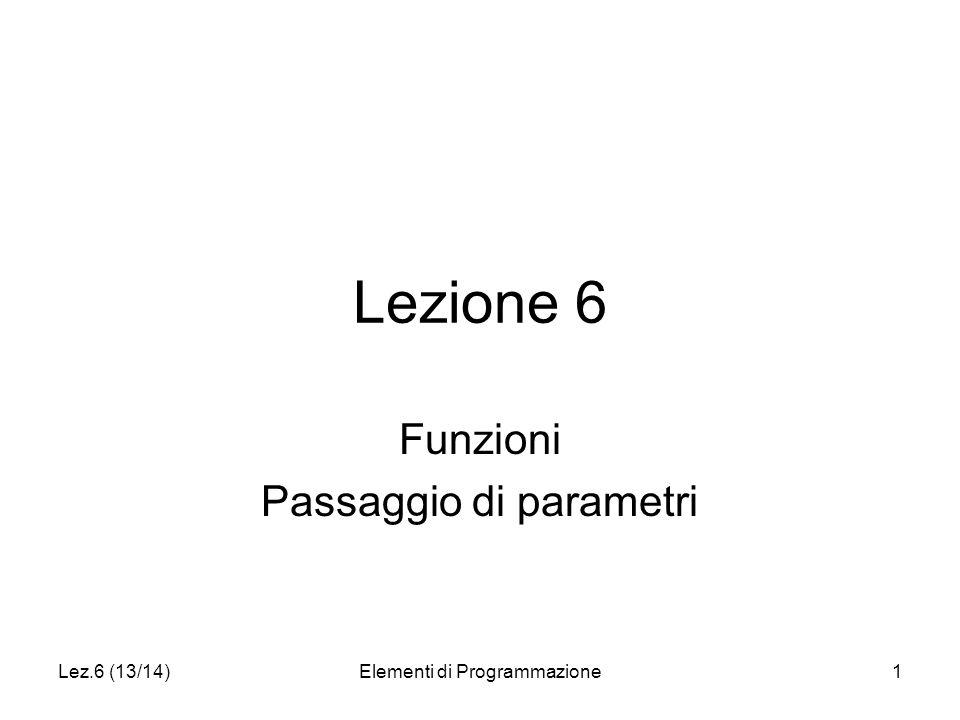 Lez.6 (13/14)Elementi di Programmazione1 Lezione 6 Funzioni Passaggio di parametri