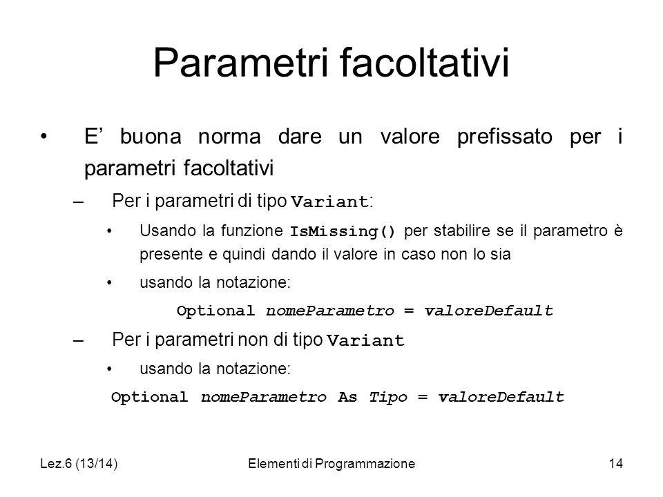 Lez.6 (13/14)Elementi di Programmazione14 Parametri facoltativi E' buona norma dare un valore prefissato per i parametri facoltativi –Per i parametri di tipo Variant : Usando la funzione IsMissing() per stabilire se il parametro è presente e quindi dando il valore in caso non lo sia usando la notazione: Optional nomeParametro = valoreDefault –Per i parametri non di tipo Variant usando la notazione: Optional nomeParametro As Tipo = valoreDefault