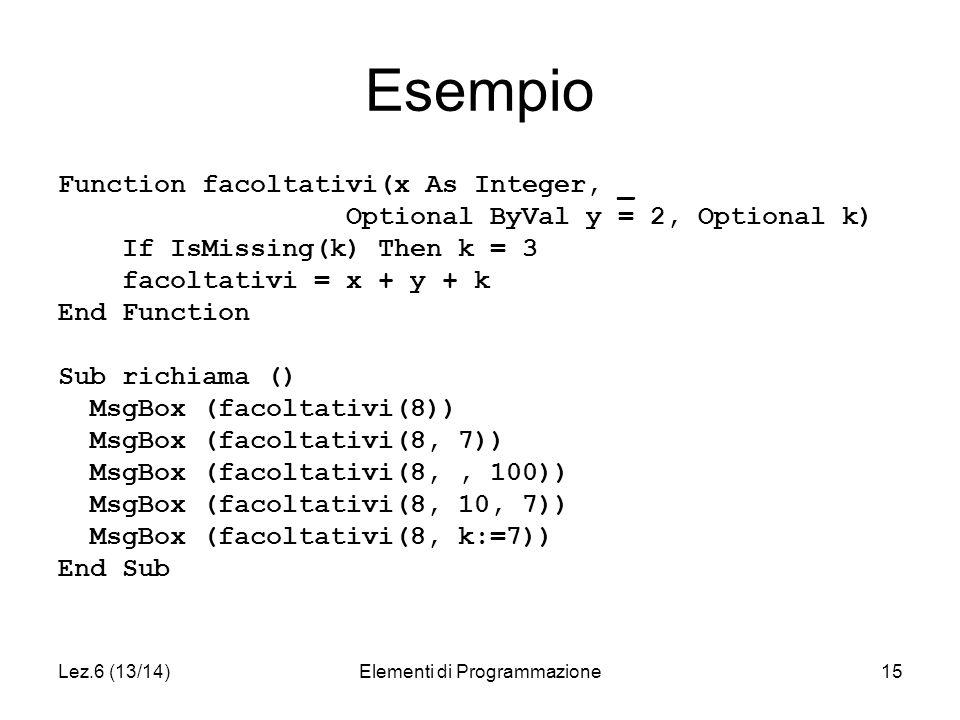 Lez.6 (13/14)Elementi di Programmazione15 Esempio Function facoltativi(x As Integer, _ Optional ByVal y = 2, Optional k) If IsMissing(k) Then k = 3 facoltativi = x + y + k End Function Sub richiama () MsgBox (facoltativi(8)) MsgBox (facoltativi(8, 7)) MsgBox (facoltativi(8,, 100)) MsgBox (facoltativi(8, 10, 7)) MsgBox (facoltativi(8, k:=7)) End Sub