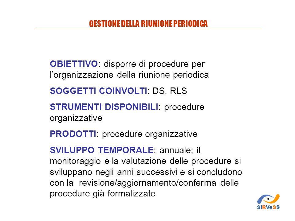 OBIETTIVO: disporre di procedure per l'organizzazione della riunione periodica SOGGETTI COINVOLTI: DS, RLS STRUMENTI DISPONIBILI: procedure organizzat