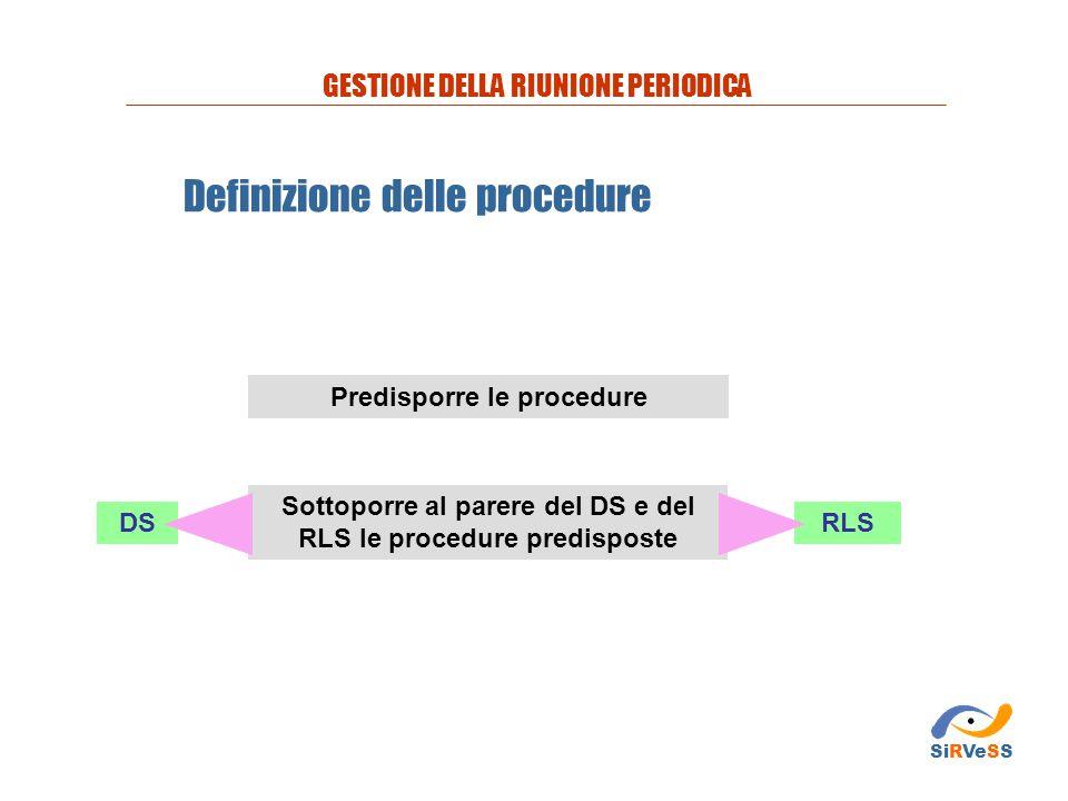 Definizione delle procedure Sottoporre al parere del DS e del RLS le procedure predisposte Predisporre le procedure GESTIONE DELLA RIUNIONE PERIODICA