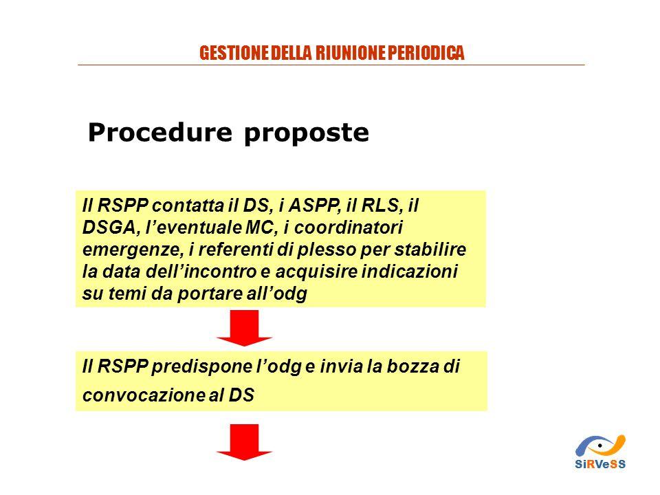 Procedure proposte Il RSPP contatta il DS, i ASPP, il RLS, il DSGA, l'eventuale MC, i coordinatori emergenze, i referenti di plesso per stabilire la d