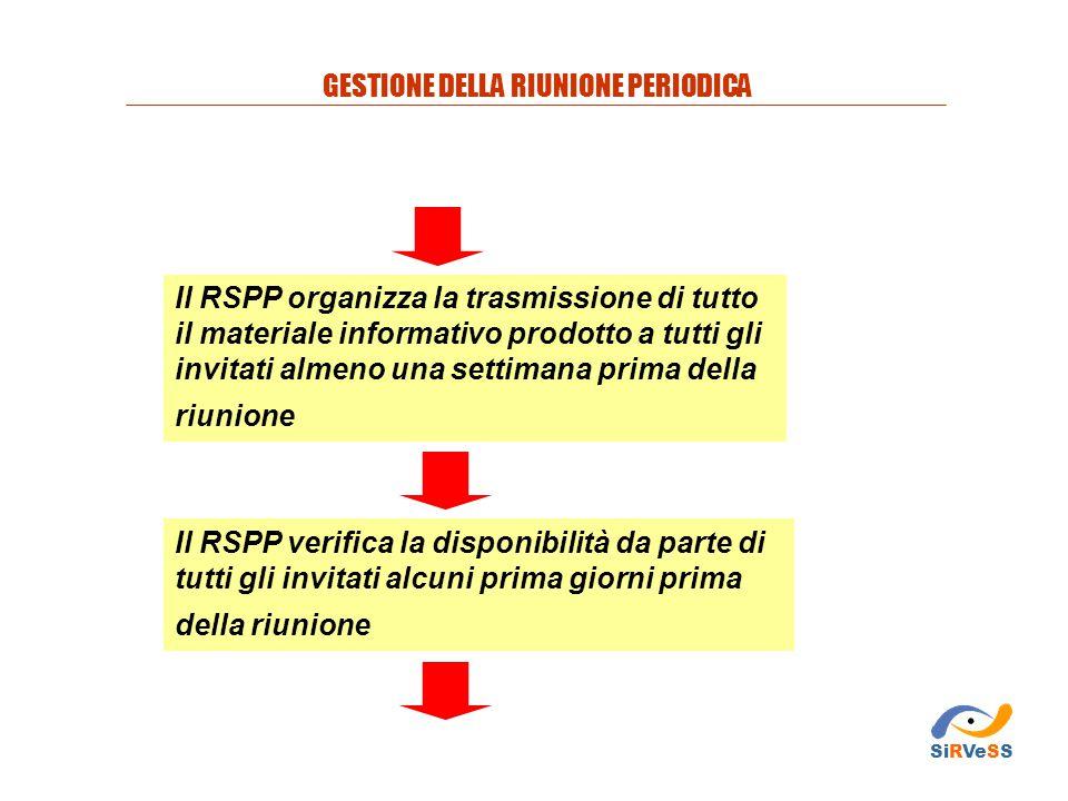 Il RSPP organizza la trasmissione di tutto il materiale informativo prodotto a tutti gli invitati almeno una settimana prima della riunione Il RSPP ve
