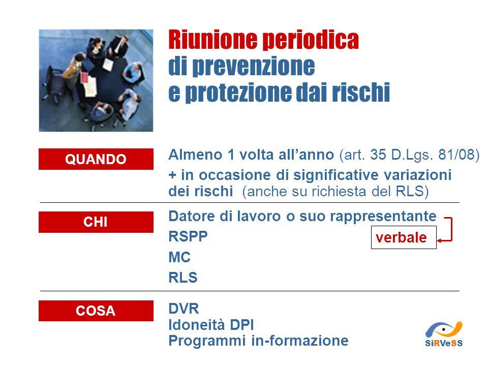 Definizione delle procedure Sottoporre al parere del DS e del RLS le procedure predisposte Predisporre le procedure GESTIONE DELLA RIUNIONE PERIODICA SiRVeSS DSRLS