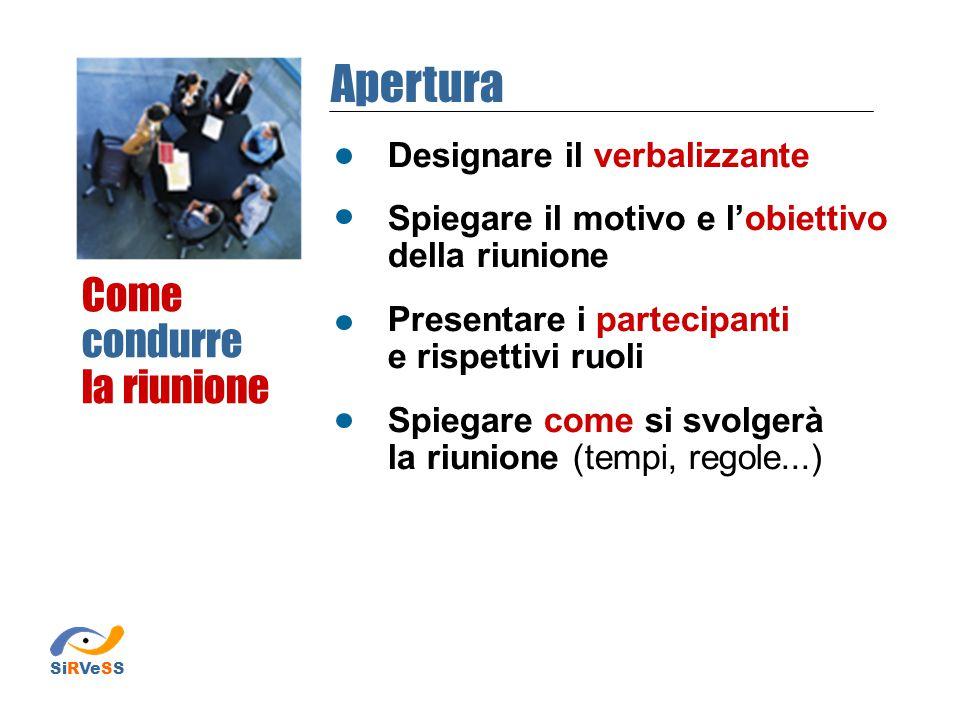 Designare il verbalizzante Spiegare il motivo e l'obiettivo della riunione Presentare i partecipanti e rispettivi ruoli Spiegare come si svolgerà la r