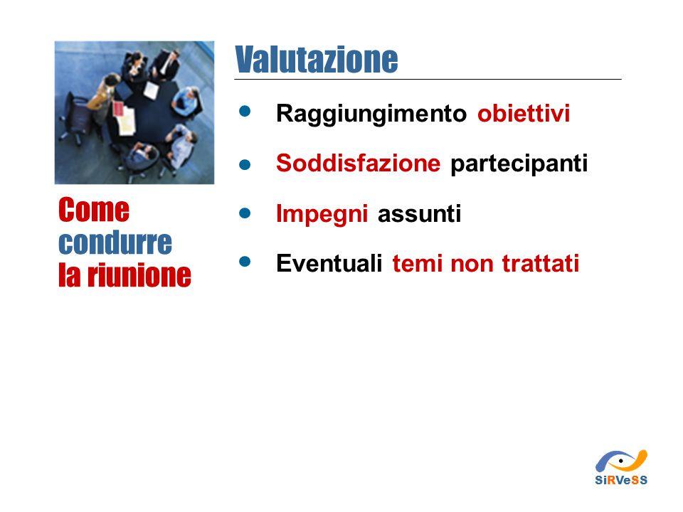 Raggiungimento obiettivi Soddisfazione partecipanti Impegni assunti Eventuali temi non trattati Come condurre la riunione Valutazione SiRVeSS