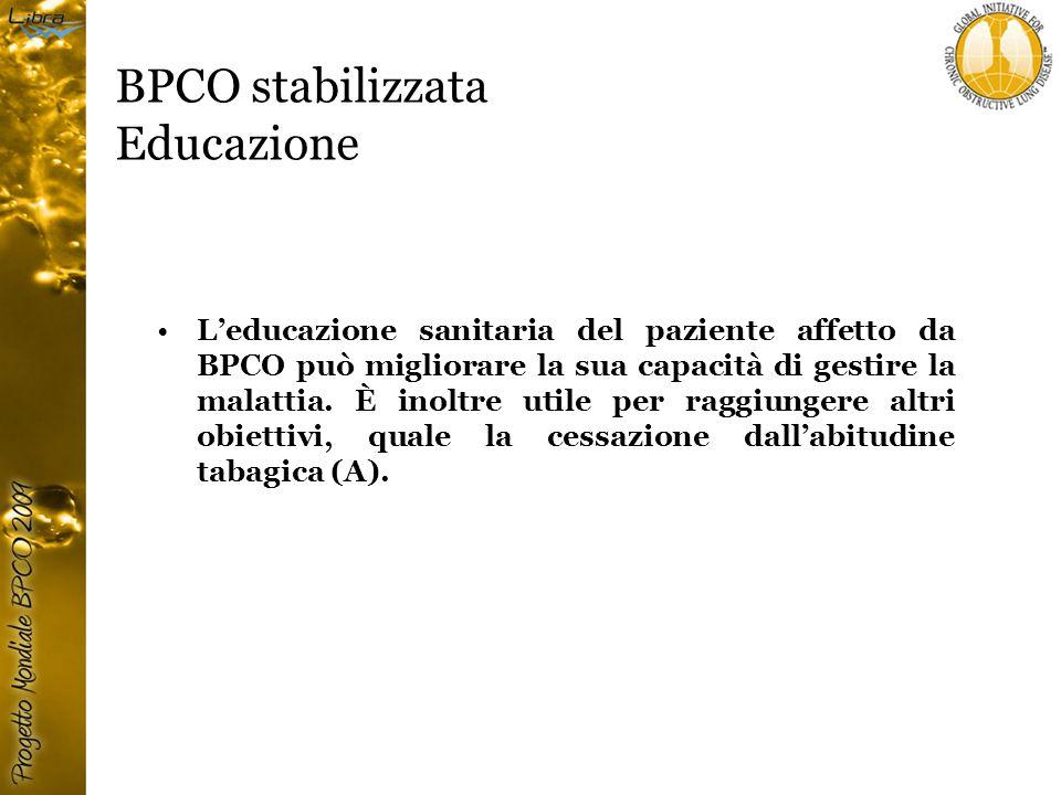 BPCO stabilizzata Educazione L'educazione sanitaria del paziente affetto da BPCO può migliorare la sua capacità di gestire la malattia.
