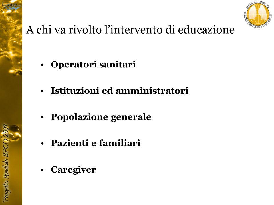 A chi va rivolto l'intervento di educazione Operatori sanitari Istituzioni ed amministratori Popolazione generale Pazienti e familiari Caregiver