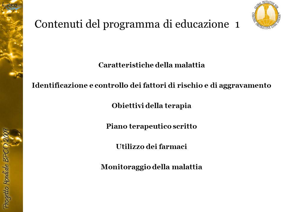 Contenuti del programma di educazione 1 Caratteristiche della malattia Identificazione e controllo dei fattori di rischio e di aggravamento Obiettivi della terapia Piano terapeutico scritto Utilizzo dei farmaci Monitoraggio della malattia