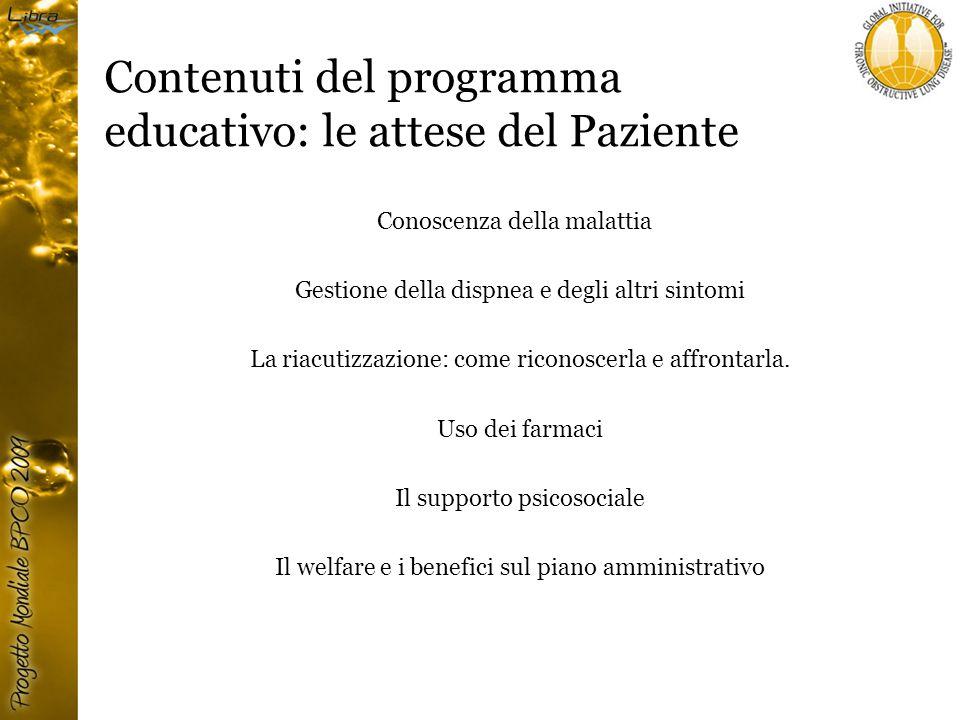 Contenuti del programma educativo: le attese del Paziente Conoscenza della malattia Gestione della dispnea e degli altri sintomi La riacutizzazione: come riconoscerla e affrontarla.
