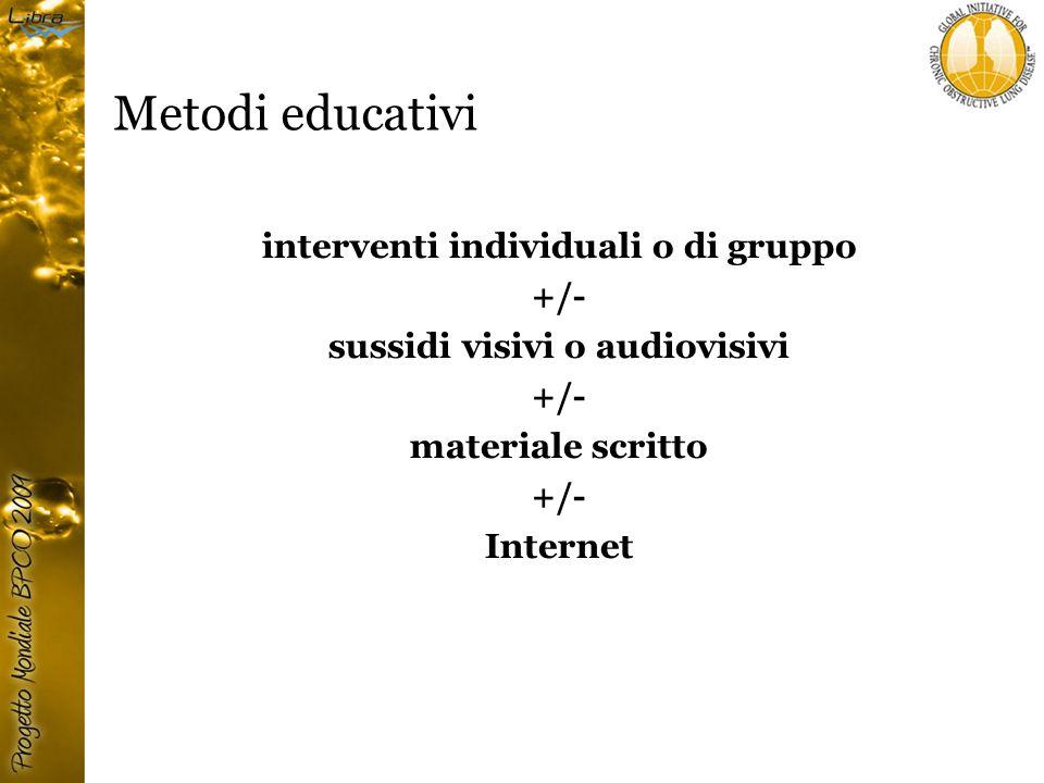 Metodi educativi interventi individuali o di gruppo +/- sussidi visivi o audiovisivi +/- materiale scritto +/- Internet