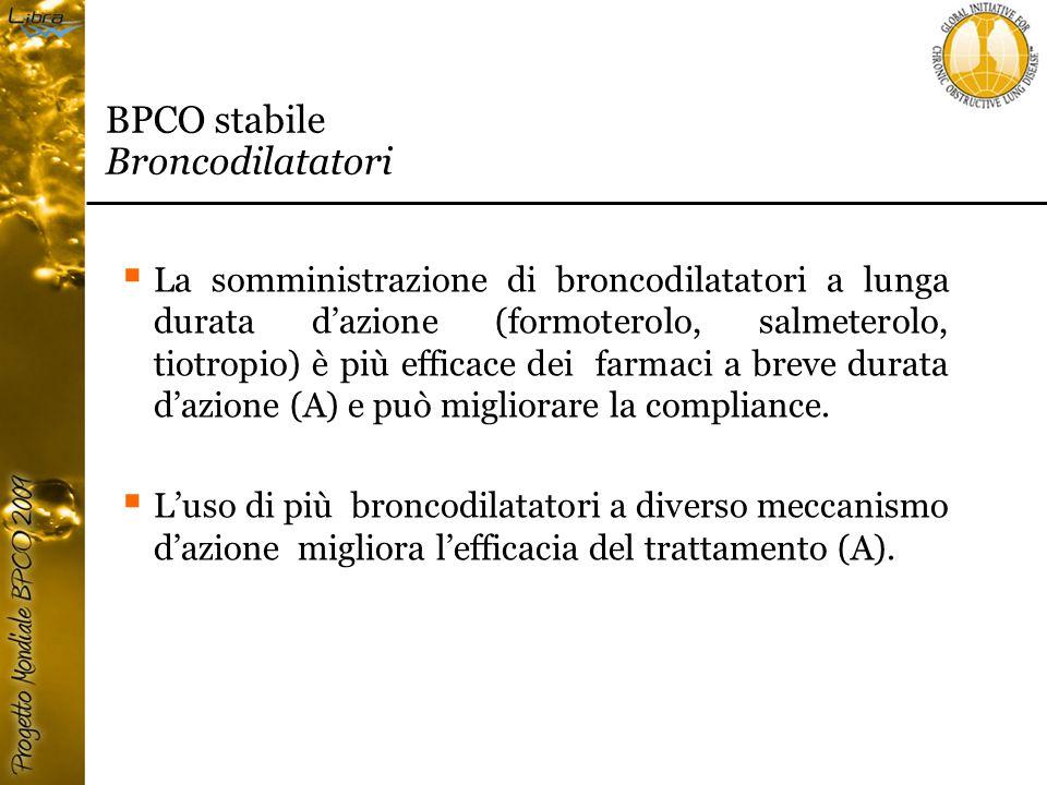  La somministrazione di broncodilatatori a lunga durata d'azione (formoterolo, salmeterolo, tiotropio) è più efficace dei farmaci a breve durata d'azione (A) e può migliorare la compliance.