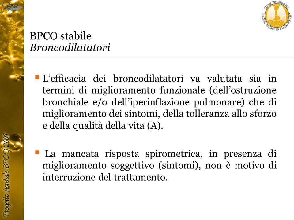  L'efficacia dei broncodilatatori va valutata sia in termini di miglioramento funzionale (dell'ostruzione bronchiale e/o dell'iperinflazione polmonare) che di miglioramento dei sintomi, della tolleranza allo sforzo e della qualità della vita (A).