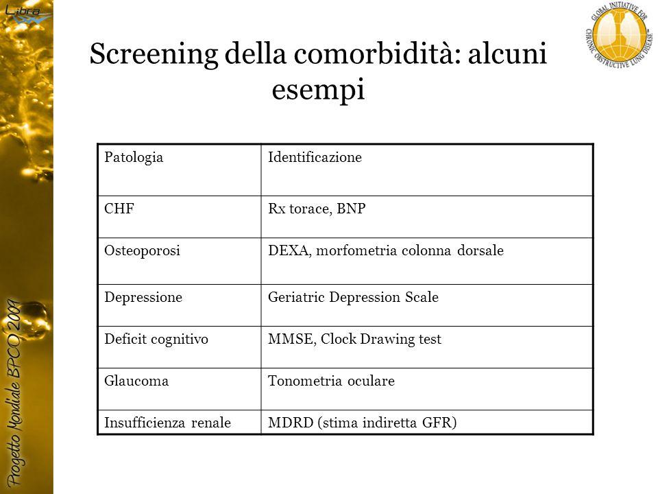 Screening della comorbidità: alcuni esempi PatologiaIdentificazione CHFRx torace, BNP OsteoporosiDEXA, morfometria colonna dorsale DepressioneGeriatric Depression Scale Deficit cognitivoMMSE, Clock Drawing test GlaucomaTonometria oculare Insufficienza renaleMDRD (stima indiretta GFR)