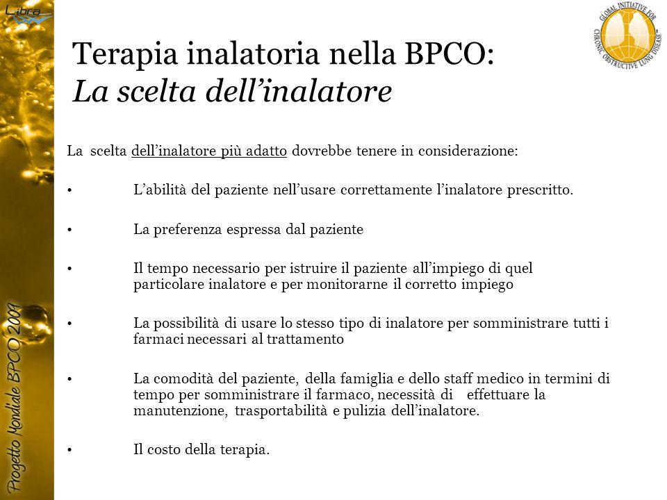 Terapia inalatoria nella BPCO: La scelta dell'inalatore La scelta dell'inalatore più adatto dovrebbe tenere in considerazione: L'abilità del paziente nell'usare correttamente l'inalatore prescritto.