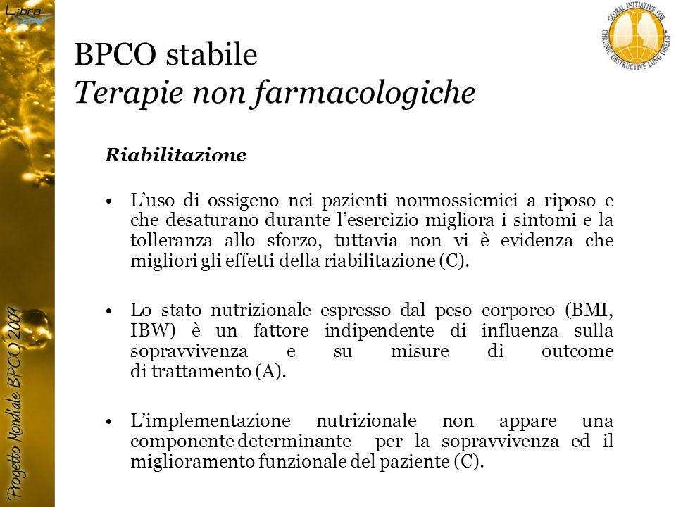 BPCO stabile Terapie non farmacologiche Riabilitazione L'uso di ossigeno nei pazienti normossiemici a riposo e che desaturano durante l'esercizio migliora i sintomi e la tolleranza allo sforzo, tuttavia non vi è evidenza che migliori gli effetti della riabilitazione (C).