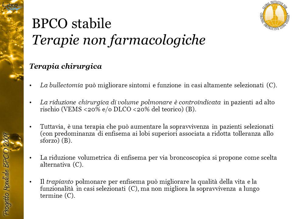 BPCO stabile Terapie non farmacologiche Terapia chirurgica La bullectomia può migliorare sintomi e funzione in casi altamente selezionati (C).