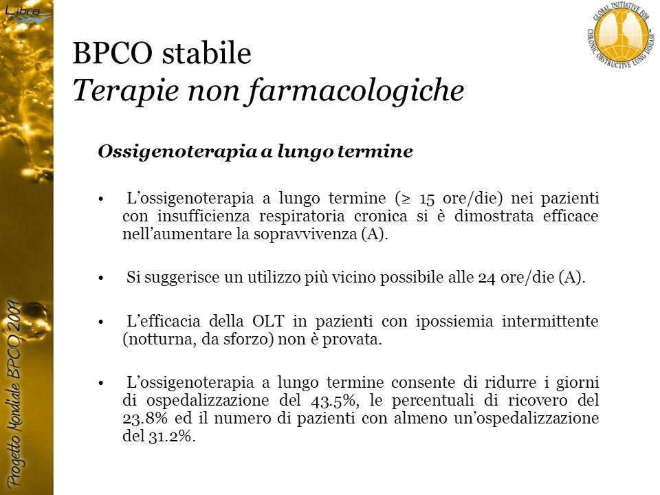 BPCO stabile Terapie non farmacologiche Ossigenoterapia a lungo termine L'ossigenoterapia a lungo termine (≥ 15 ore/die) nei pazienti con insufficienza respiratoria cronica si è dimostrata efficace nell'aumentare la sopravvivenza (A).