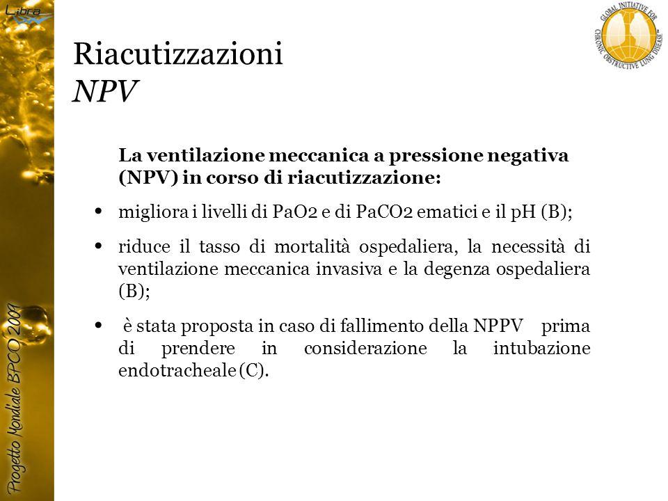 Riacutizzazioni NPV La ventilazione meccanica a pressione negativa (NPV) in corso di riacutizzazione: migliora i livelli di PaO2 e di PaCO2 ematici e il pH (B); riduce il tasso di mortalità ospedaliera, la necessità di ventilazione meccanica invasiva e la degenza ospedaliera (B); è stata proposta in caso di fallimento della NPPV prima di prendere in considerazione la intubazione endotracheale (C).
