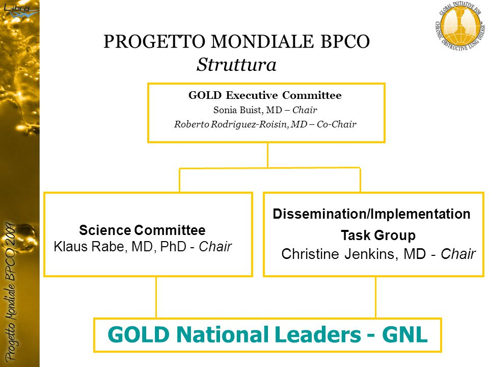 PROGETTO MONDIALE BPCO Struttura GOLD Executive Committee Sonia Buist, MD – Chair Roberto Rodriguez-Roisin, MD – Co-Chair Science Committee Klaus Rabe