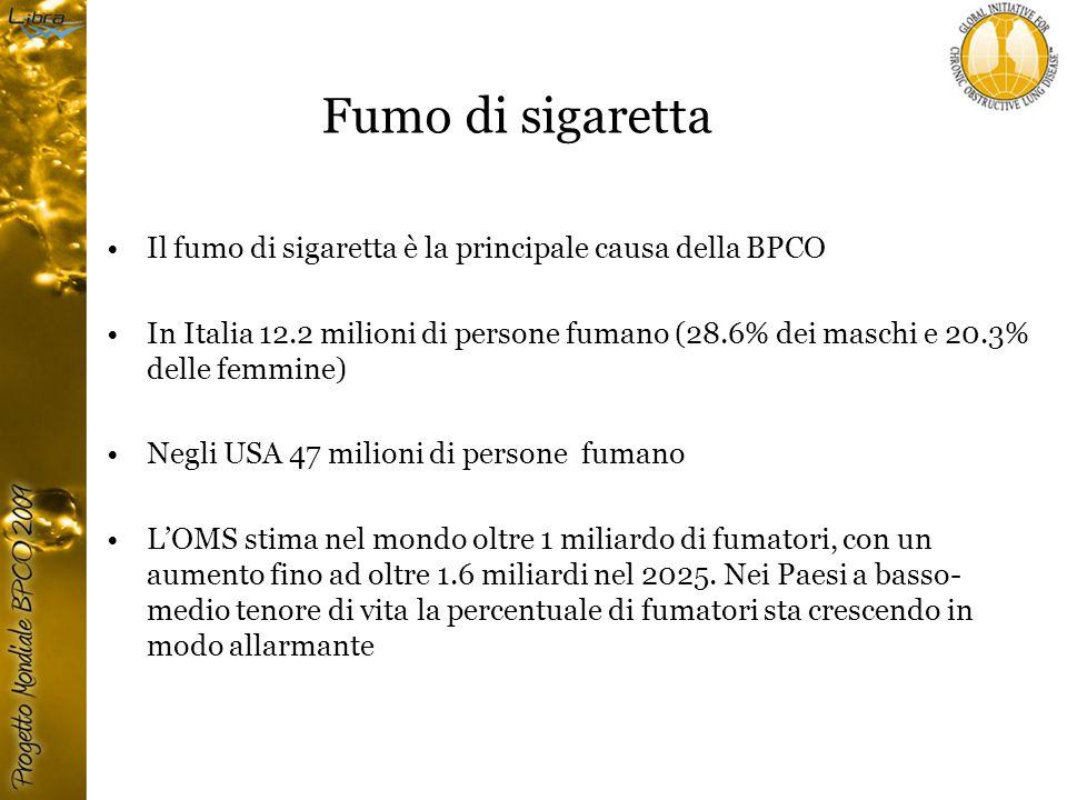 Fumo di sigaretta Il fumo di sigaretta è la principale causa della BPCO In Italia 12.2 milioni di persone fumano (28.6% dei maschi e 20.3% delle femmine) Negli USA 47 milioni di persone fumano L'OMS stima nel mondo oltre 1 miliardo di fumatori, con un aumento fino ad oltre 1.6 miliardi nel 2025.