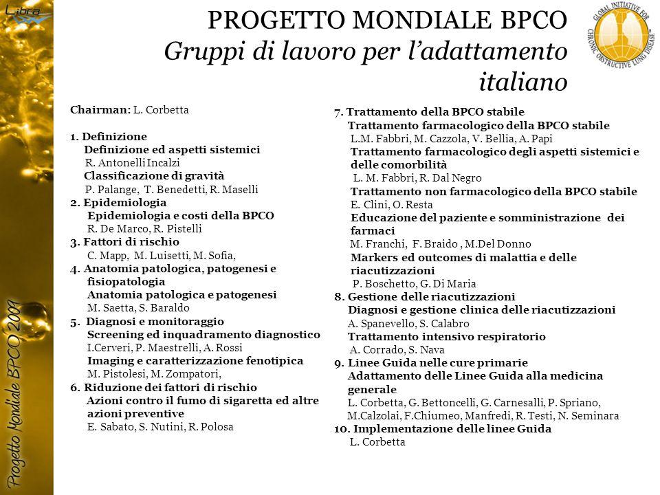 PROGETTO MONDIALE BPCO Gruppi di lavoro per l'adattamento italiano Chairman: L.