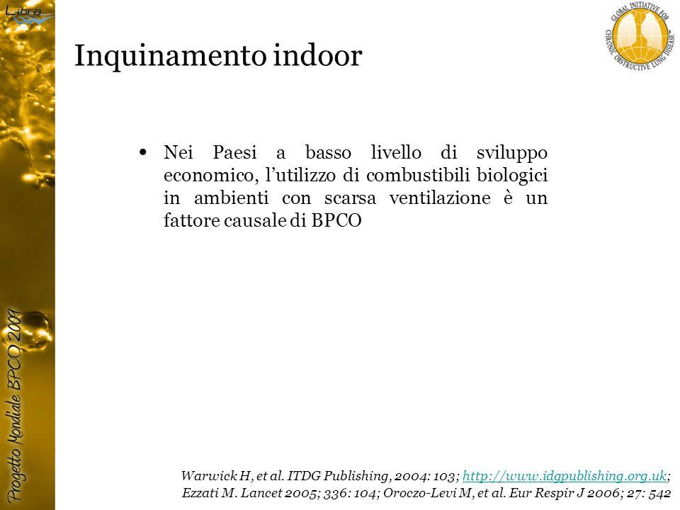 Inquinamento indoor Nei Paesi a basso livello di sviluppo economico, l'utilizzo di combustibili biologici in ambienti con scarsa ventilazione è un fattore causale di BPCO Warwick H, et al.