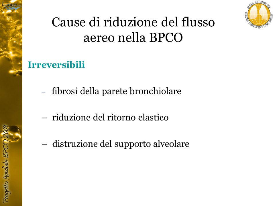Cause di riduzione del flusso aereo nella BPCO Irreversibili – fibrosi della parete bronchiolare – riduzione del ritorno elastico – distruzione del supporto alveolare